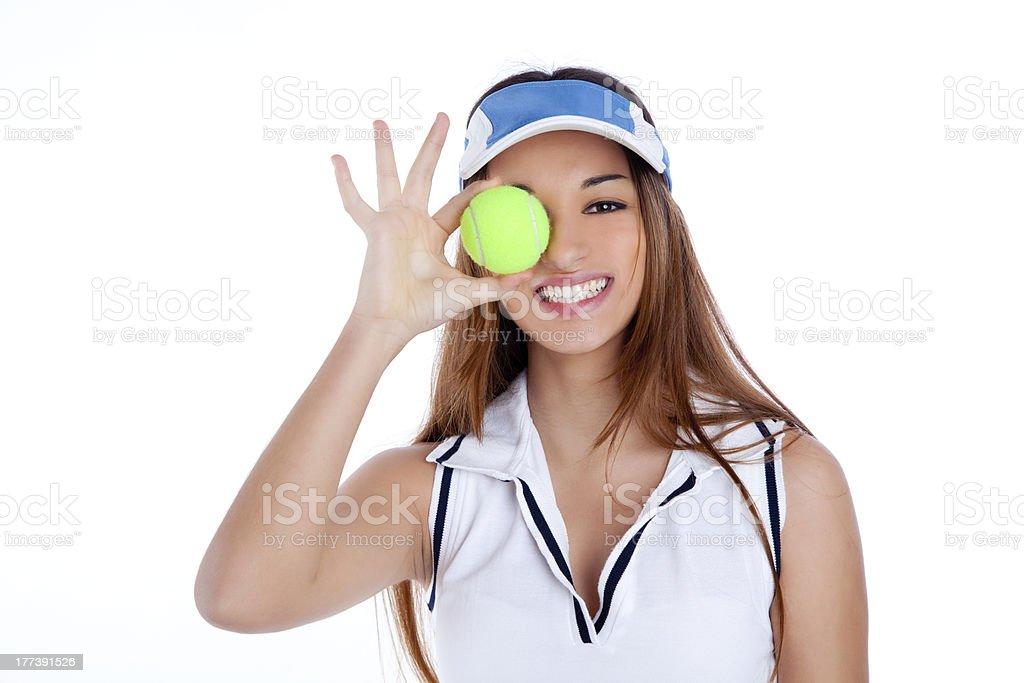 brunette tennis girl white dress and sun visor cap royalty-free stock photo