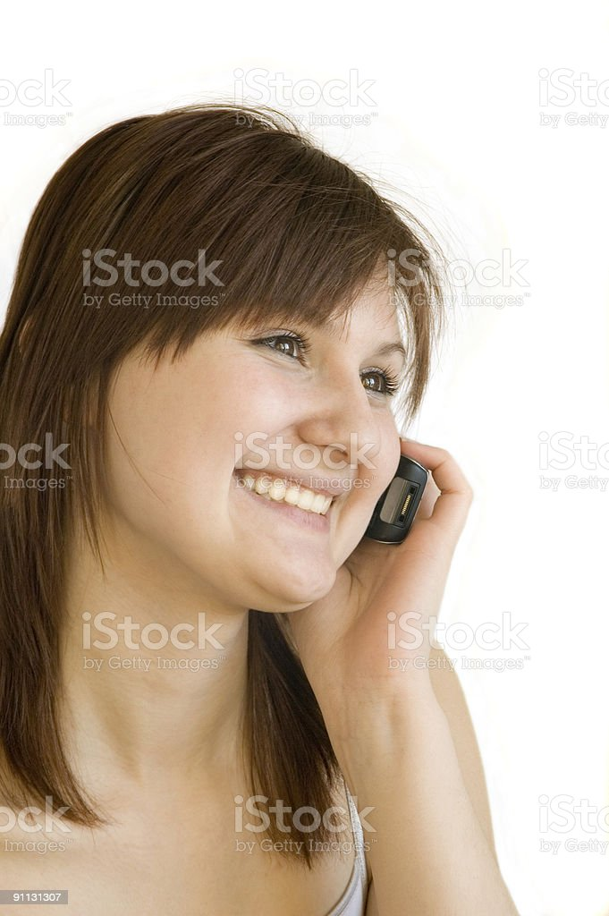 brunette  with cellphone stock photo