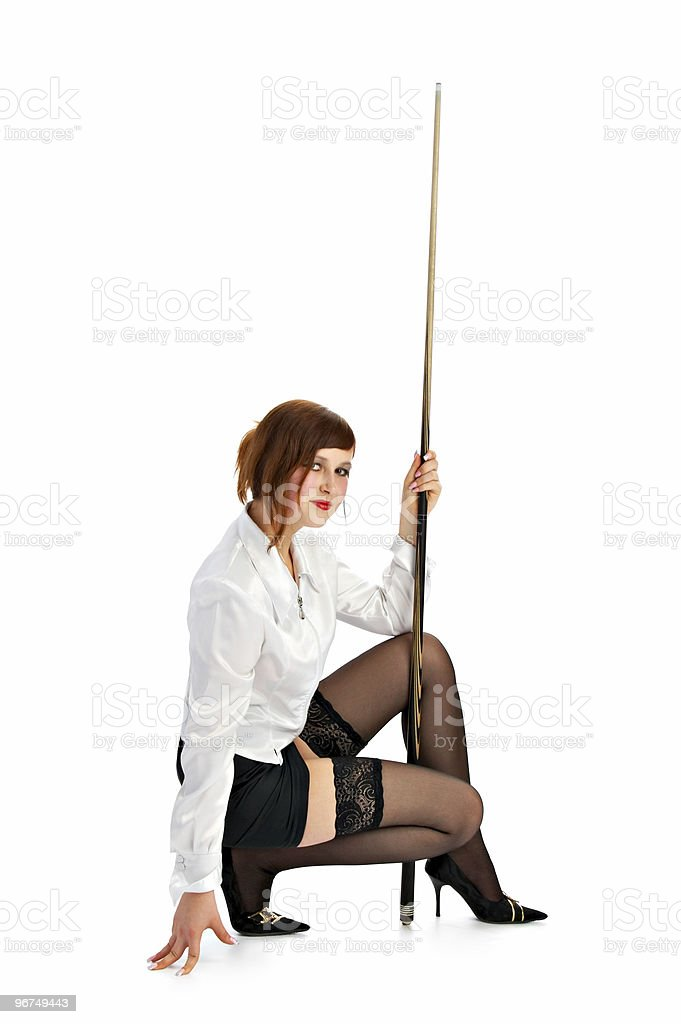 brunette with cue royalty-free stock photo