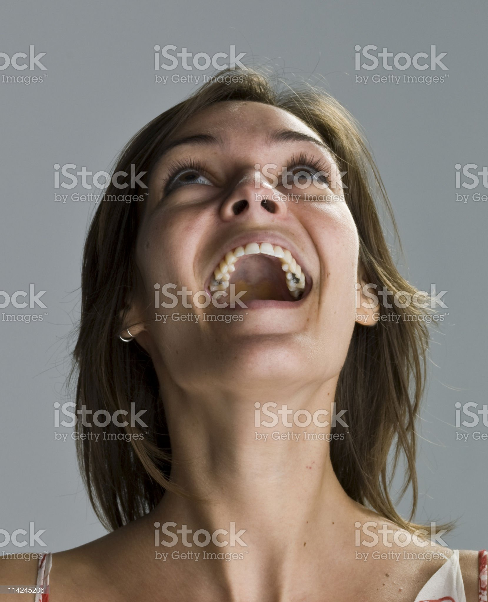 brunette with dental cavities royalty-free stock photo