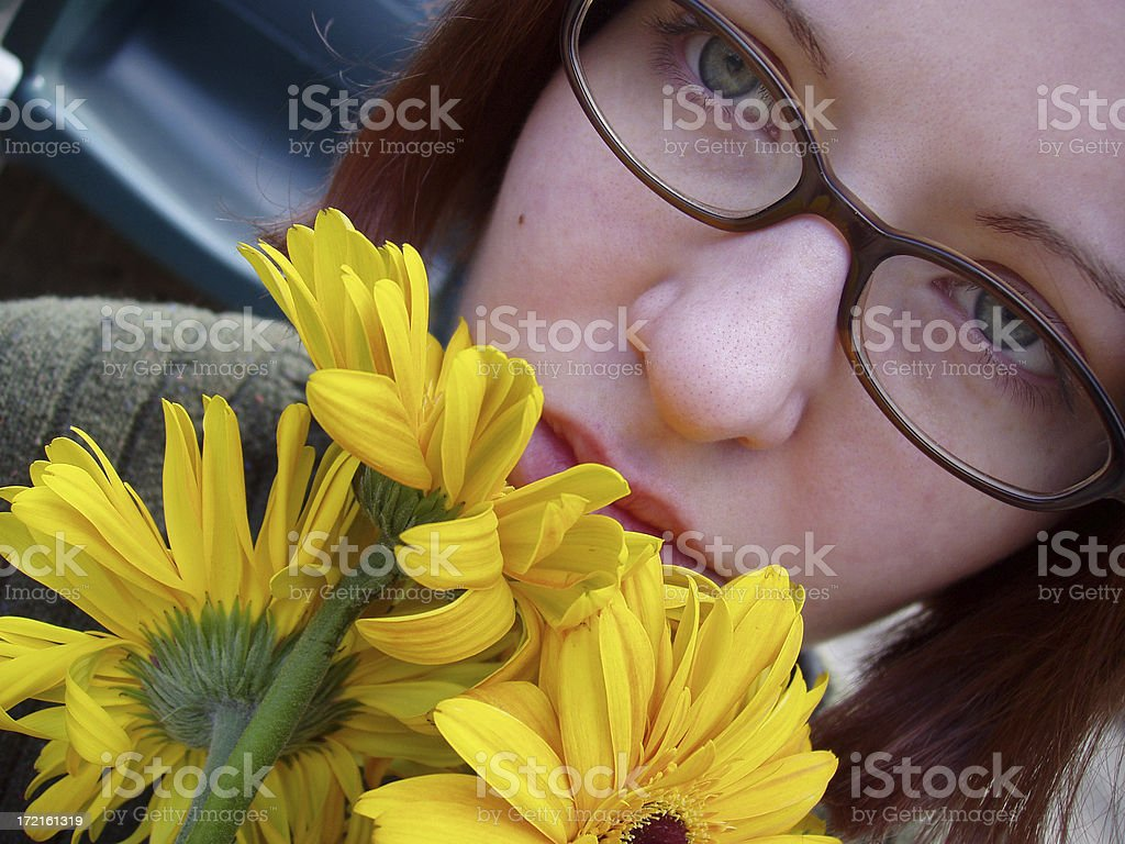 Brunette with Flowers royalty-free stock photo