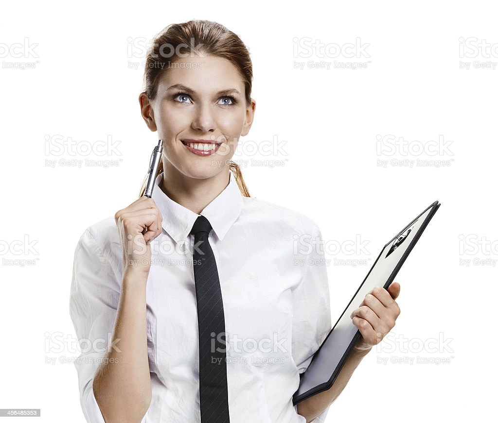 Brunette with folder and pen stock photo