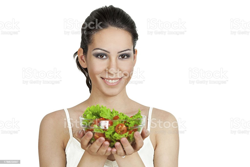 brunette with green salad royalty-free stock photo