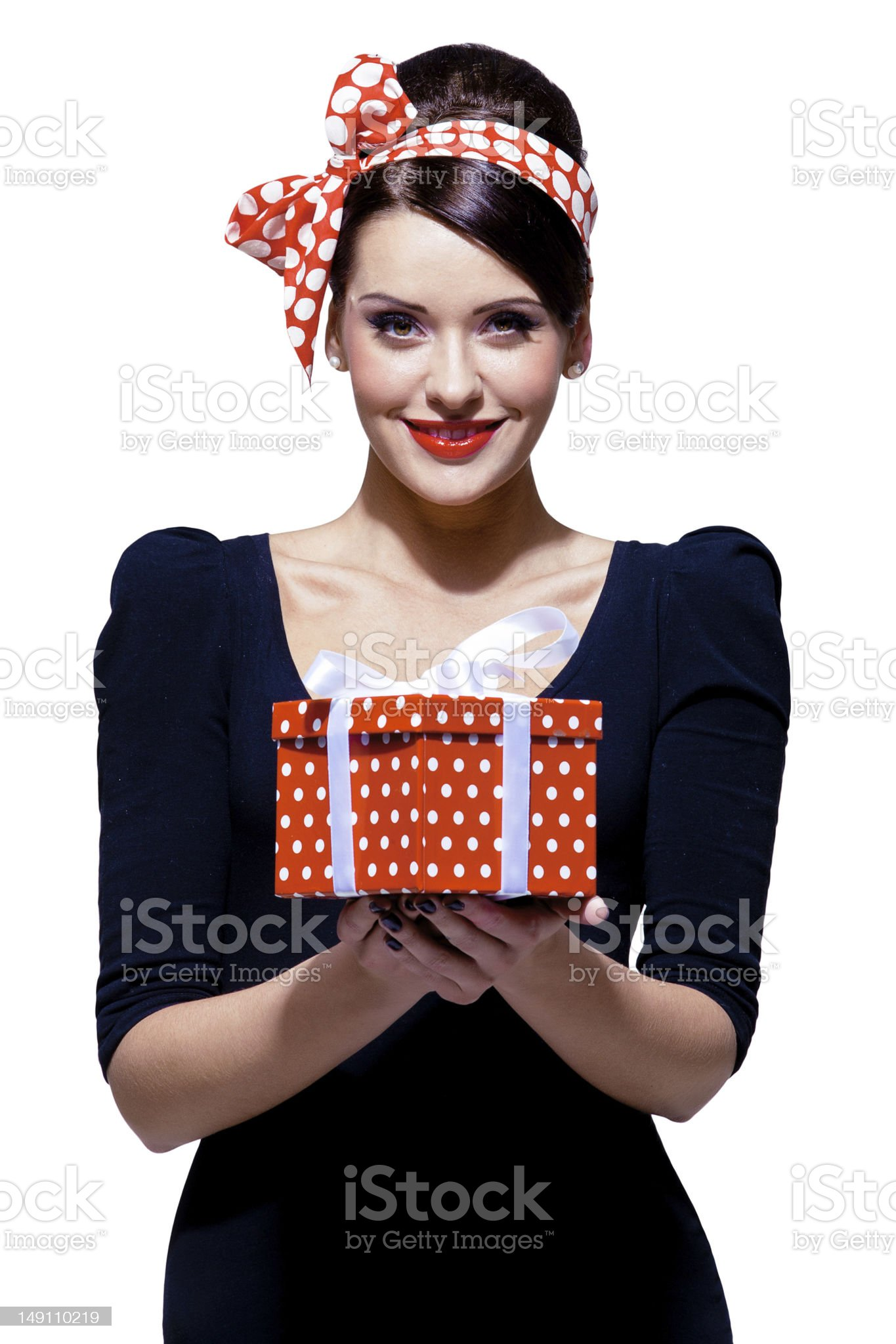 Brunette with headband holding a gift royalty-free stock photo