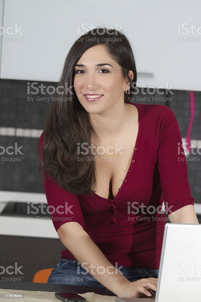 brunette with laptop royalty-free stock photo