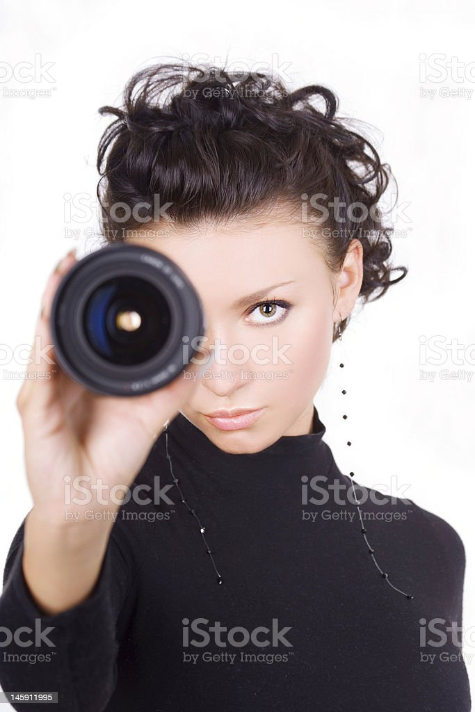 Brunette With Lens royalty-free stock photo