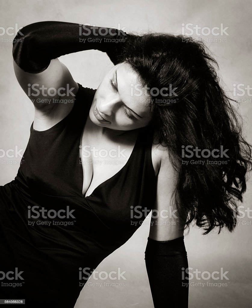 Brunette with long hair stock photo