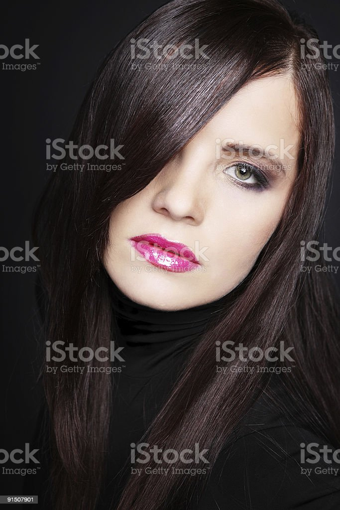 Brunette with long hair. royalty-free stock photo