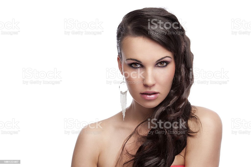 brunette with long hair silver earrings royalty-free stock photo