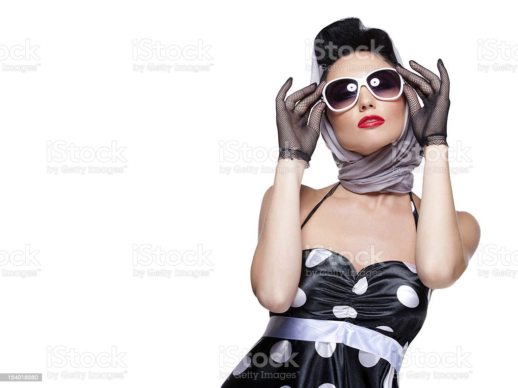 Brunette with stylish sunglasses and scarf stock photo