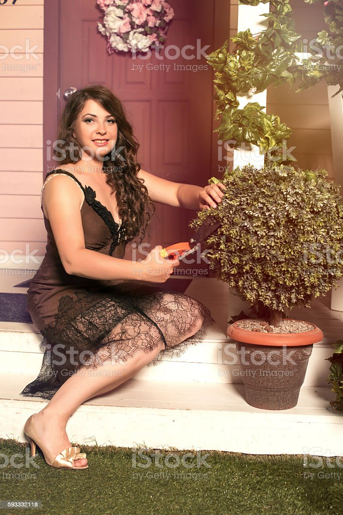 brunette woman cutting plants with secateurs in garden stock photo