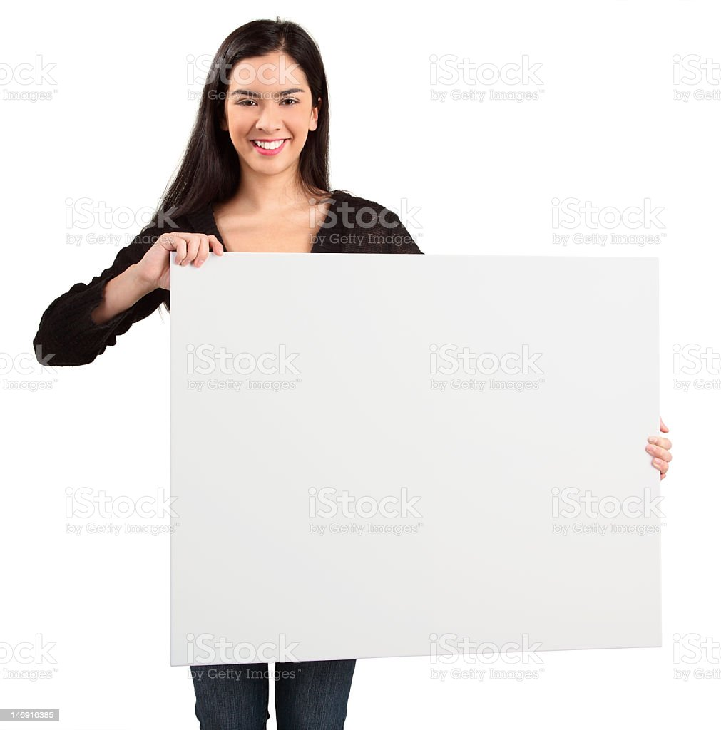 Brunette woman holding up white sign on white background royalty-free stock photo