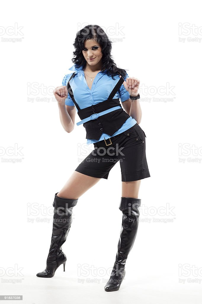 Brunette woman in blue. royalty-free stock photo