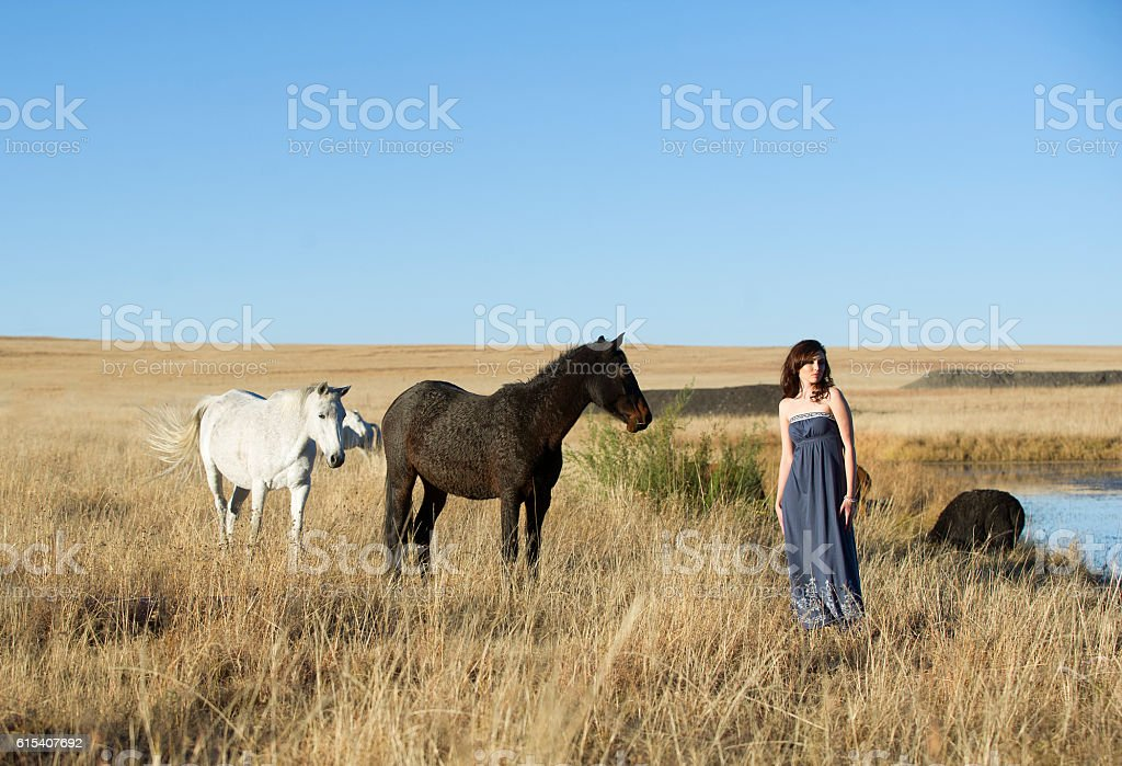 Brunette woman in field with horses stock photo