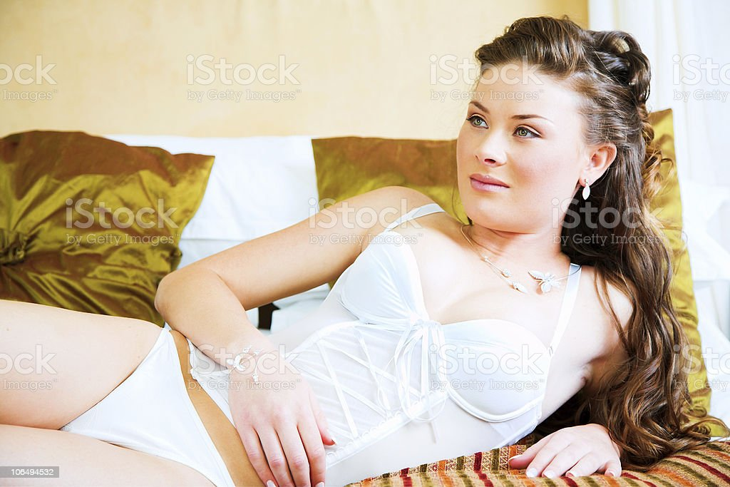 brunette woman in lingerie royalty-free stock photo