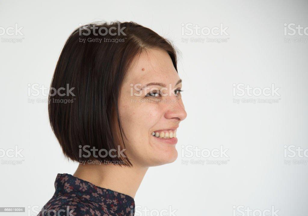 Brunette woman smiling positive portrait stock photo