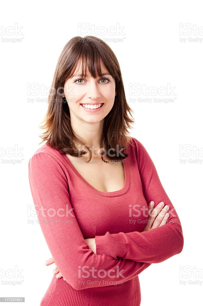 Brunette woman smiling with a red top stock photo