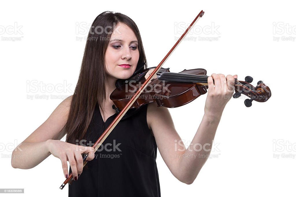 Brunette woman with fioddle stock photo