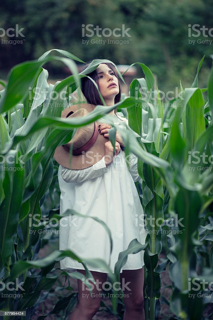 Brunette Woman with Hat how Meditating in the Corn Field stock photo