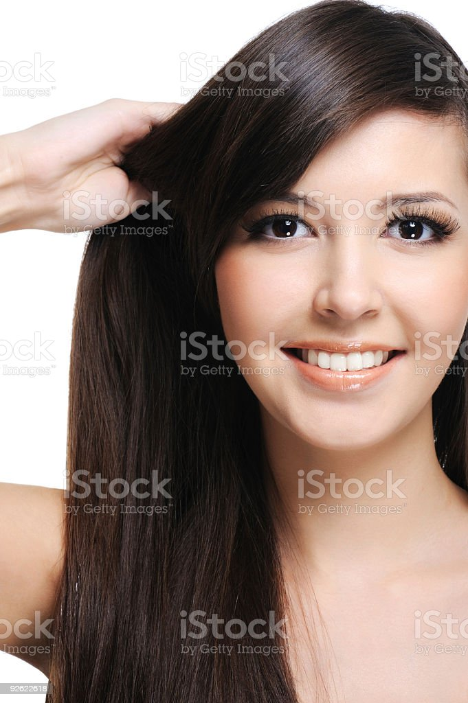 Brunette woman with healthy hairs stock photo