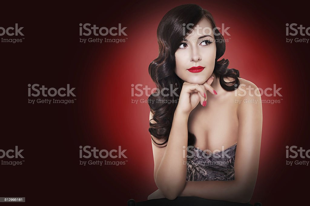 brunette woman with red lips and vintage stock photo