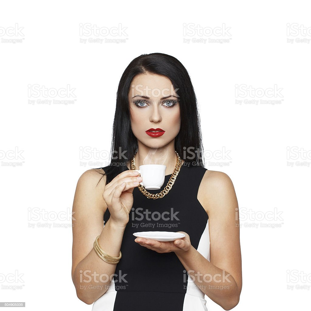 Brunette woman with white cup coffee royalty-free stock photo