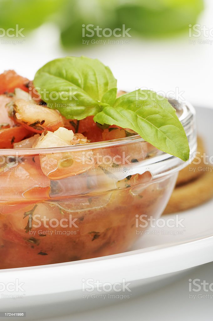 Bruschetta and basil royalty-free stock photo