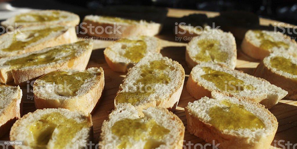 Bruschetta, bread and extra virgin olive oil (Fettunta in Italian) royalty-free stock photo