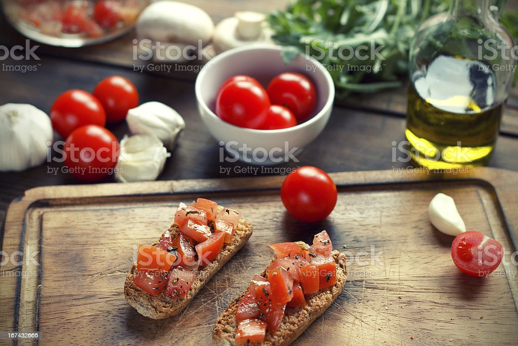 Bruschetta on Toasted Baguettes royalty-free stock photo