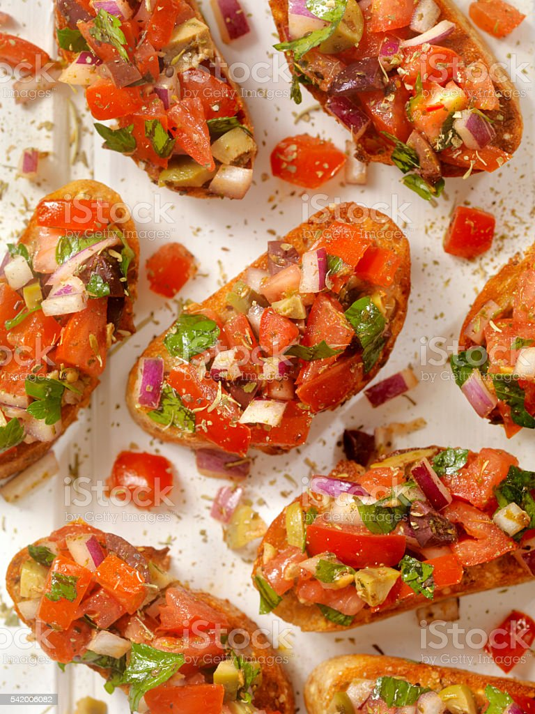 Bruschetta on Toasted Baguettes stock photo