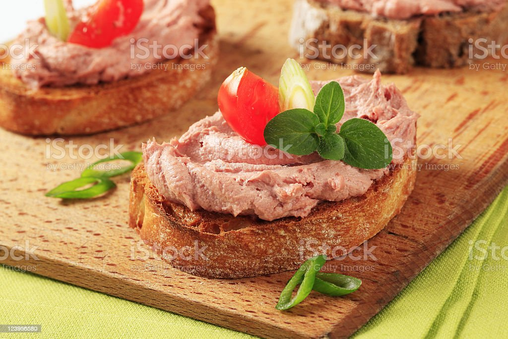 Bruschetta style hors d'ouvres stock photo
