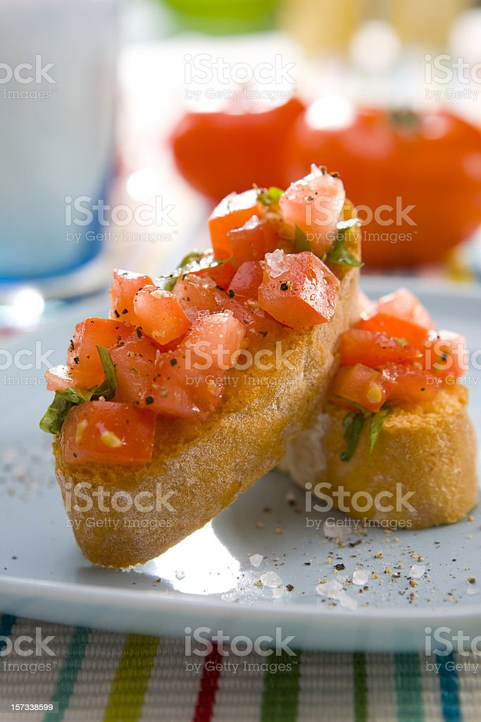 bruschette pomodoro stock photo