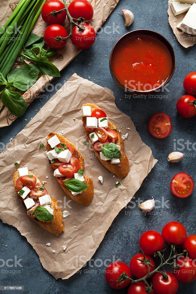 Bruschetta traditional Italian antipasti snack food stock photo