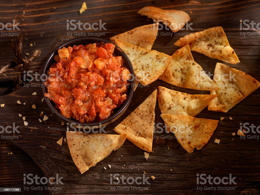 Bruschetta with Baked Pita Chips stock photo