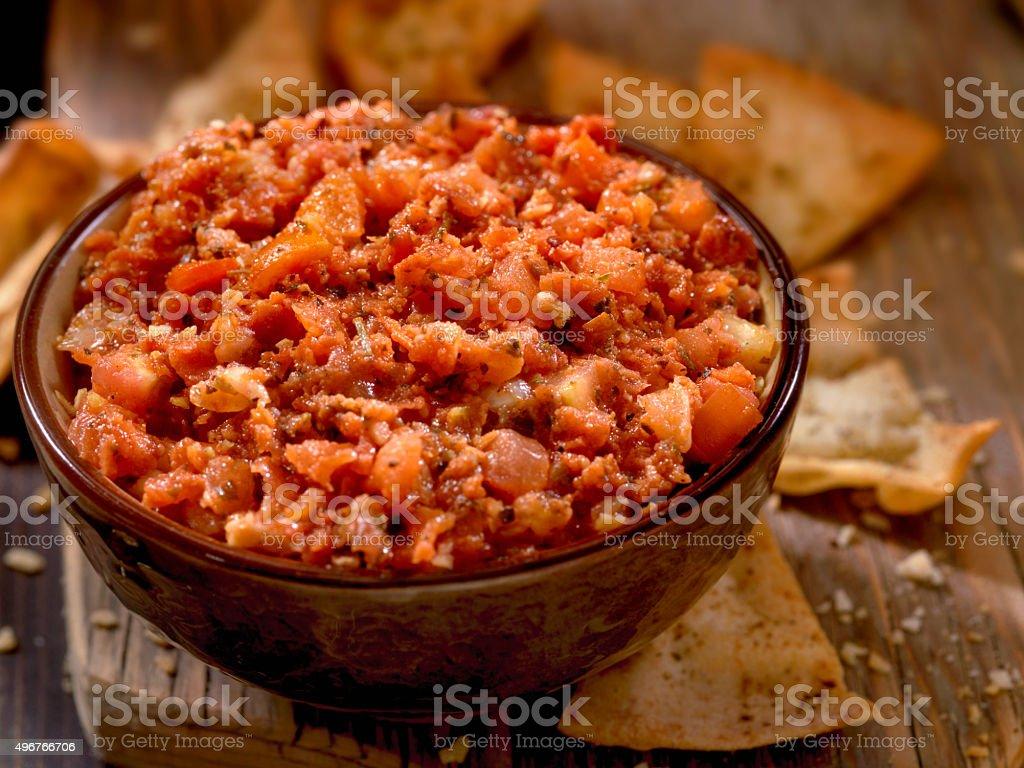 Bruschetta with Baked Pita Chips stock photo