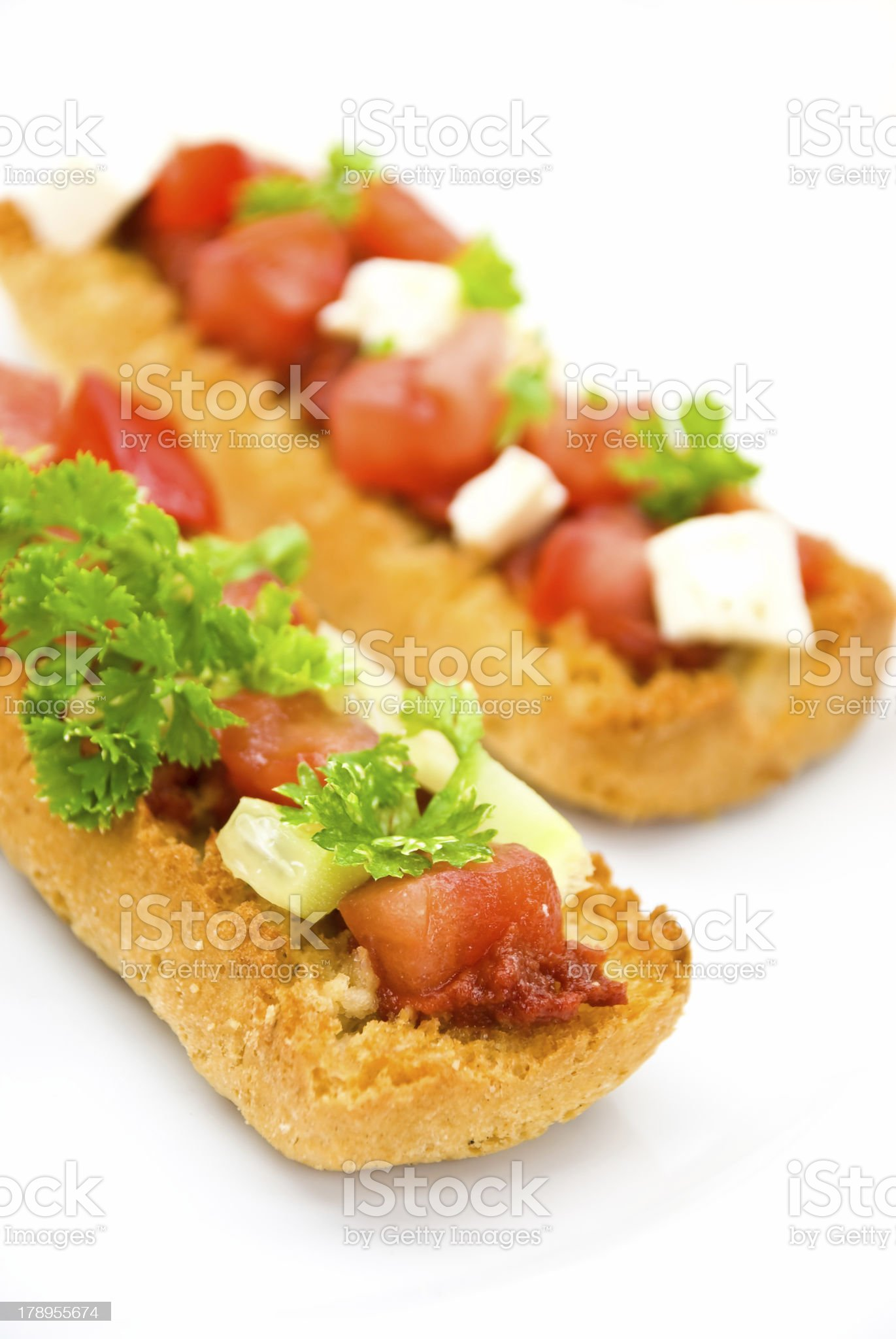 Bruschetta with Cheese,Tomato and Stuffing royalty-free stock photo