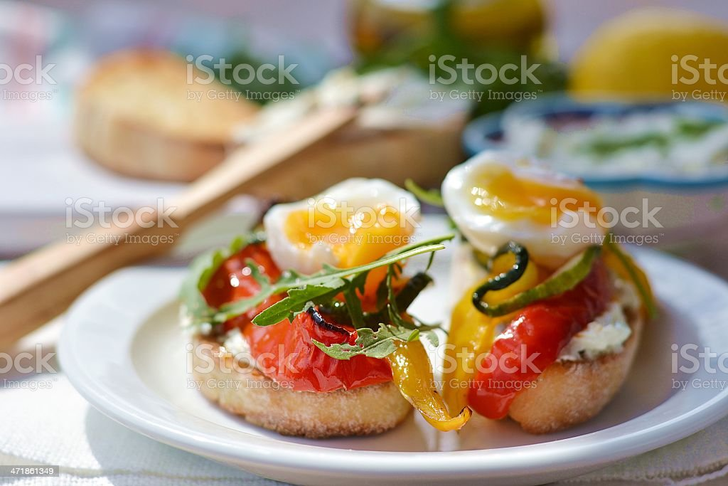 bruschetta with grilled  vegetables. royalty-free stock photo