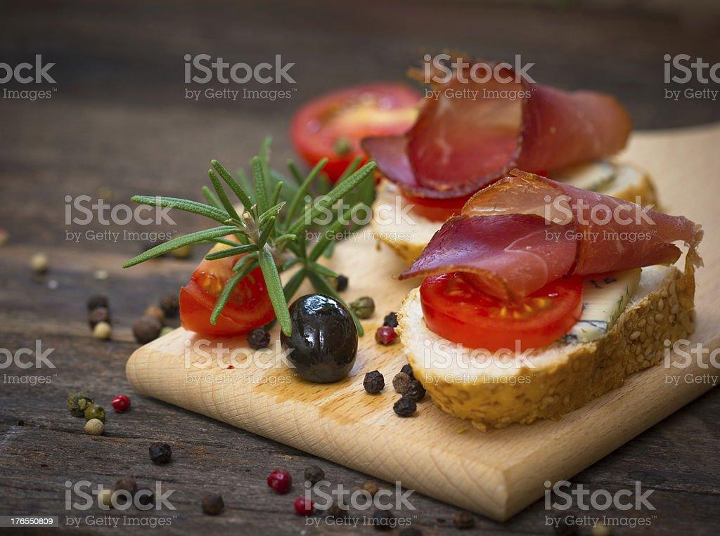 Bruschetta with ham royalty-free stock photo