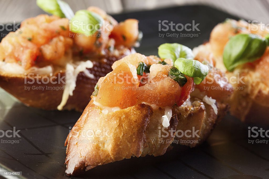 Bruschetta with mozzarella and tomato royalty-free stock photo
