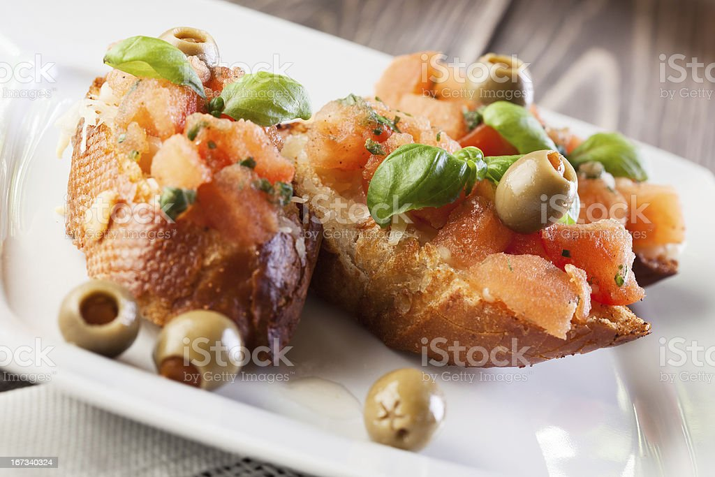 Bruschetta with olive royalty-free stock photo