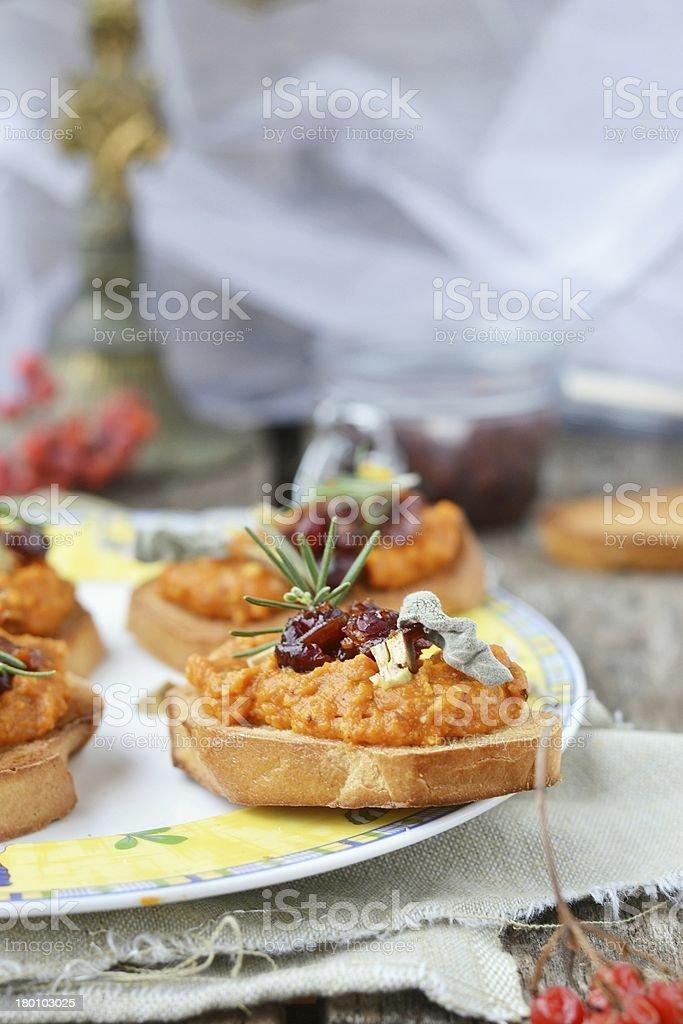 bruschetta with pampkin stock photo