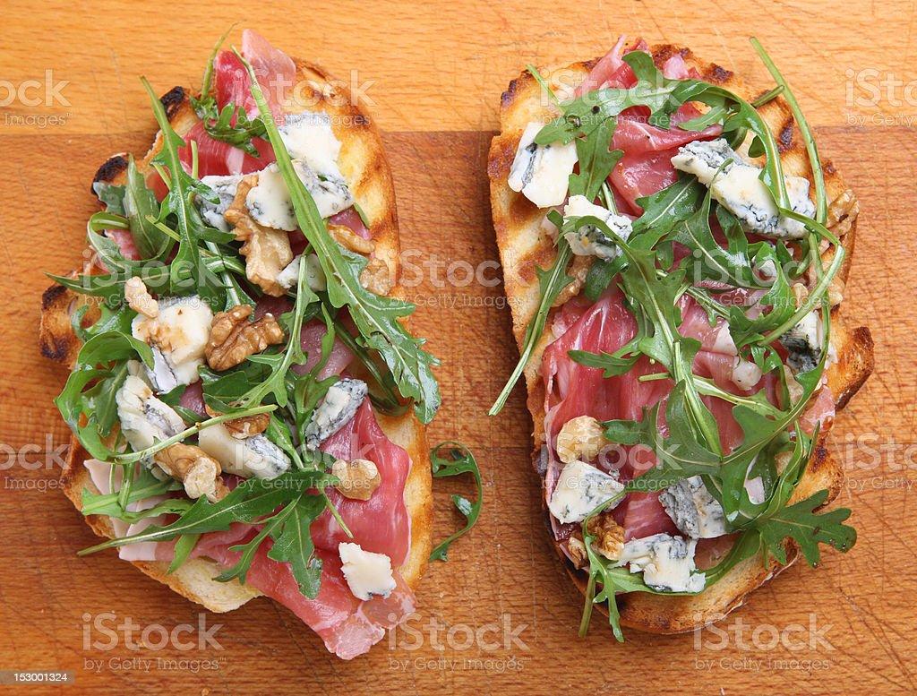 Bruschetta with Parma Ham & Gorgonzola royalty-free stock photo
