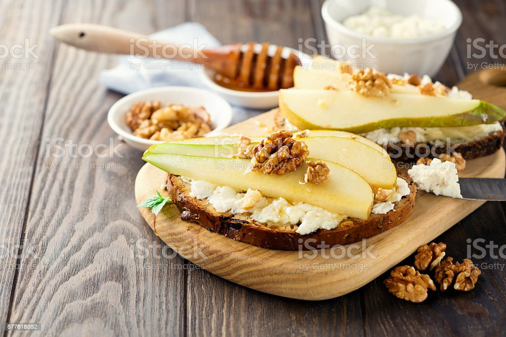 Bruschetta with pears stock photo