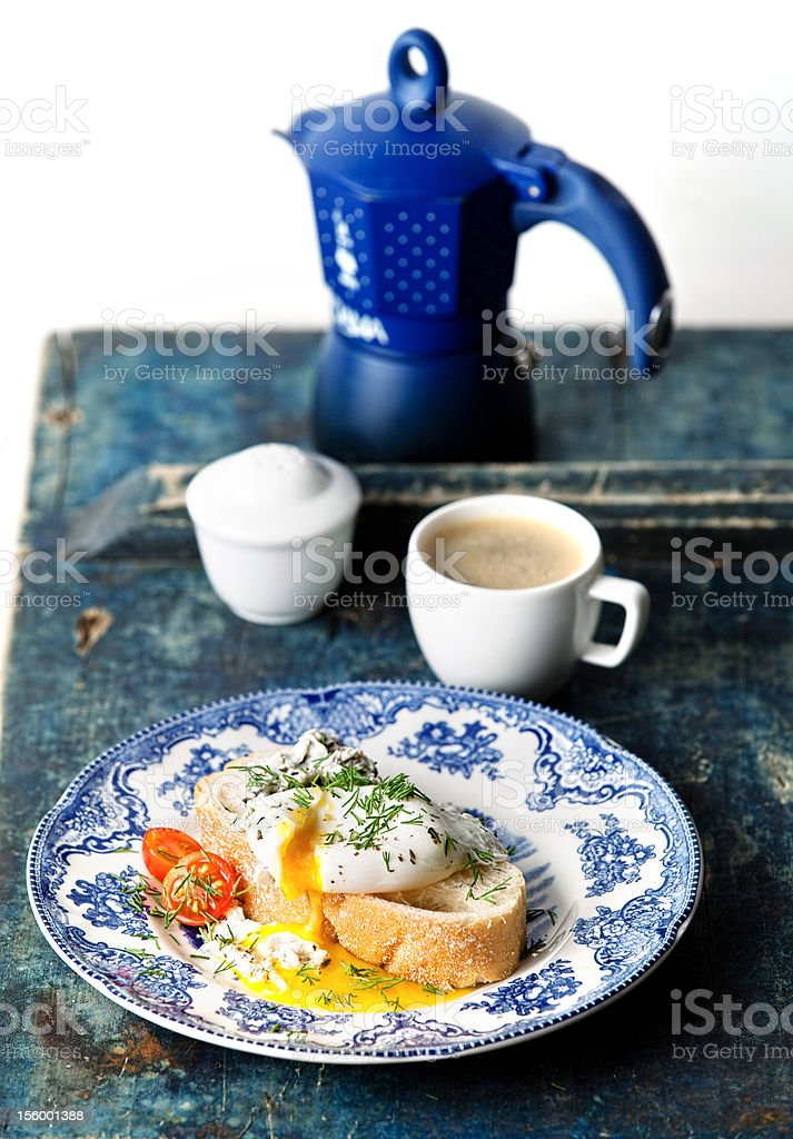 bruschetta with poached egg stock photo