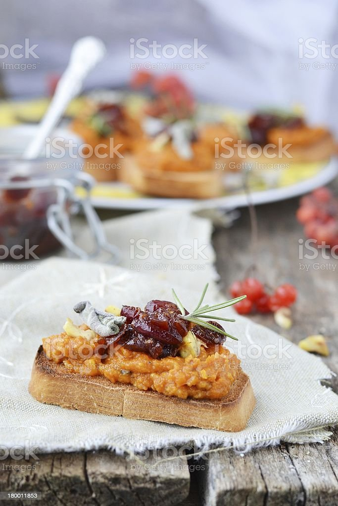bruschetta with pumpkin stock photo