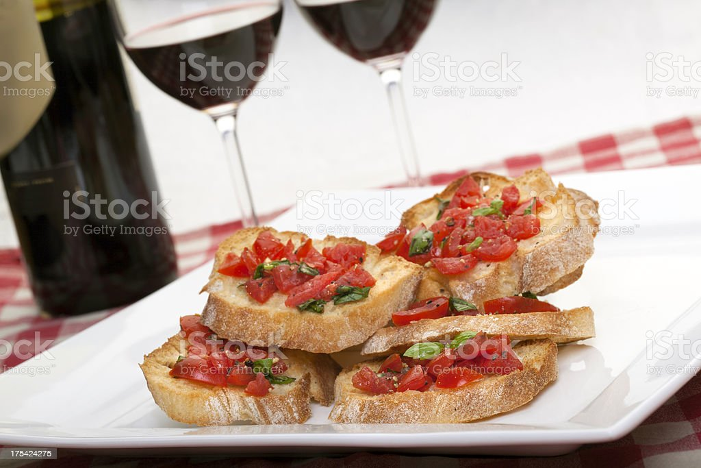 Bruschetta with red wine stock photo