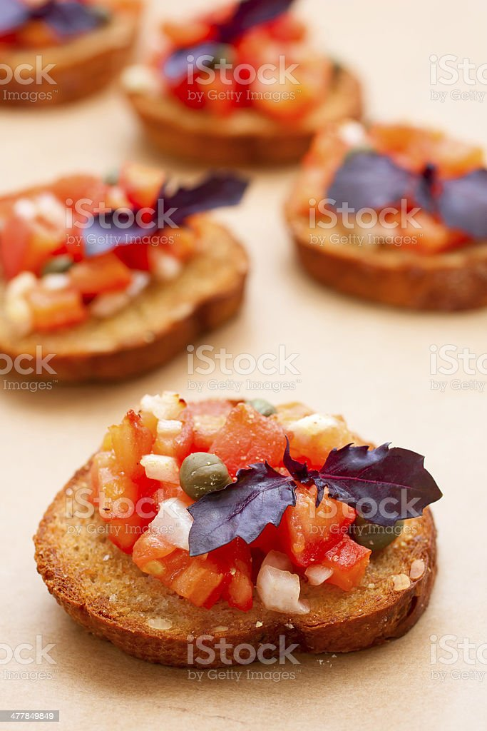 Bruschetta with tomatoes and basil royalty-free stock photo