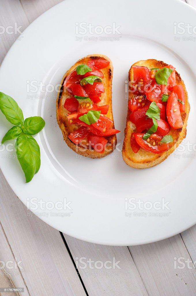 Bruschetta with tomatoes stock photo