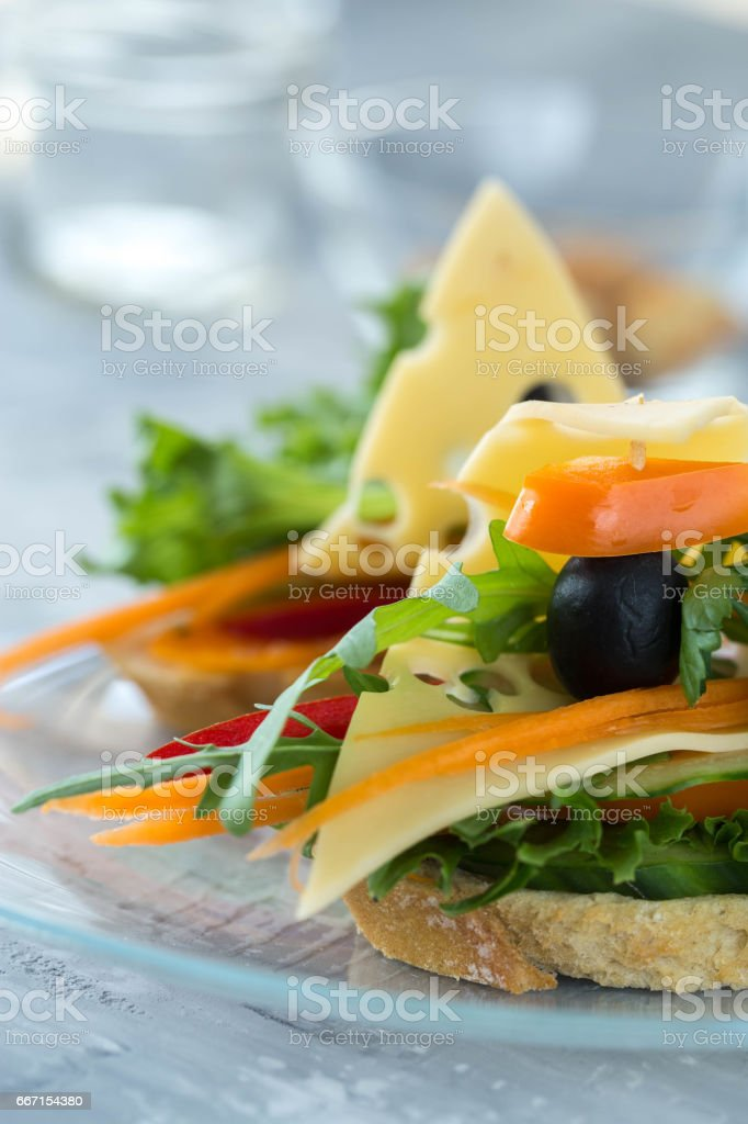 Bruschetta with vegetables and cheese stock photo