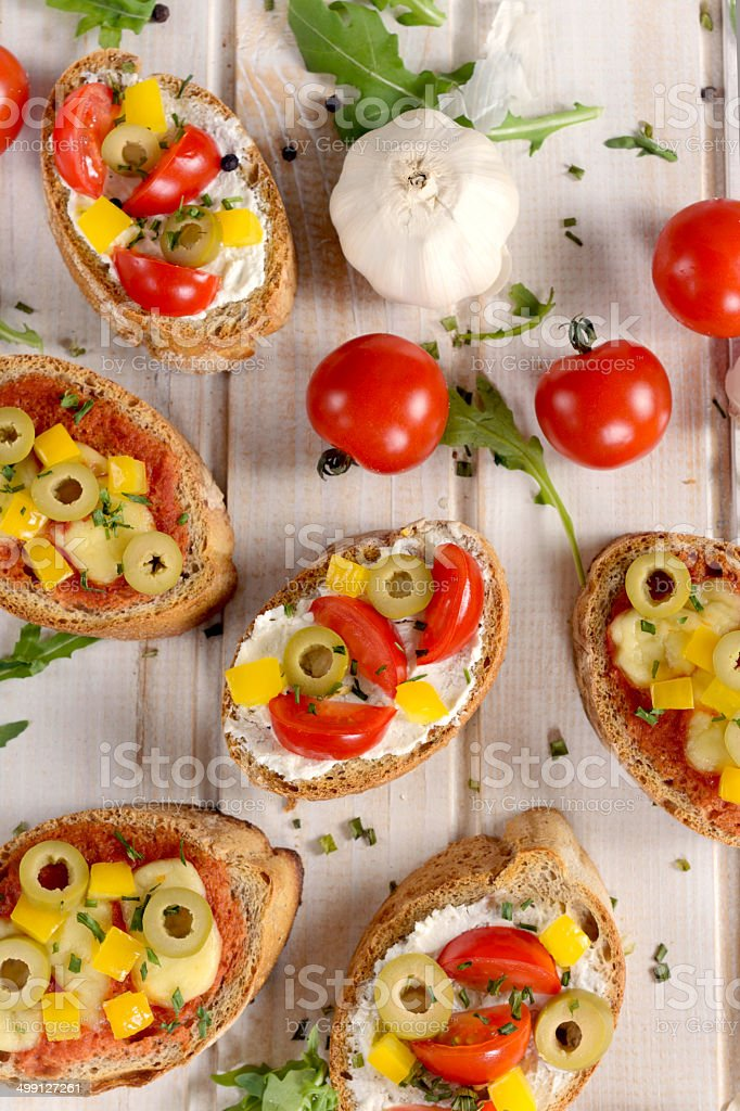 Bruschettas from above royalty-free stock photo